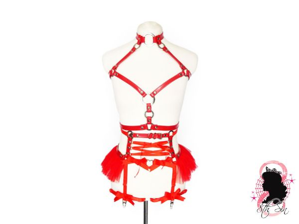 Red Faux Leather O Ring and Corset Harness Set